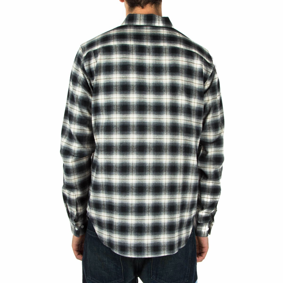 Diamond supply co ombre plaid flannel shirt black aq2f574 for Black watch plaid flannel shirt