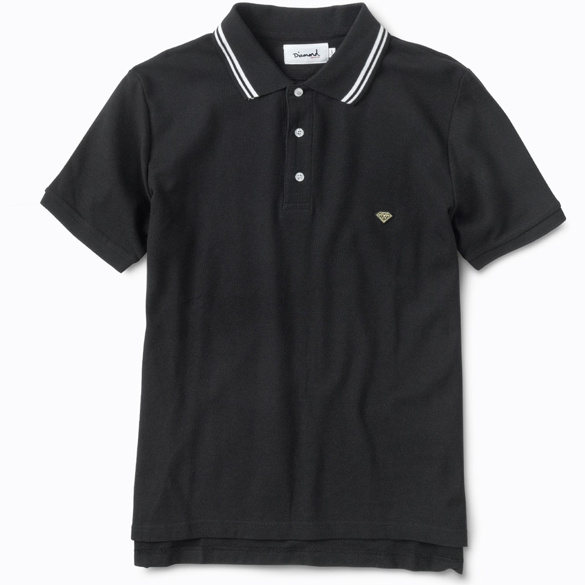 diamond supply co stripe collar polo shirt black