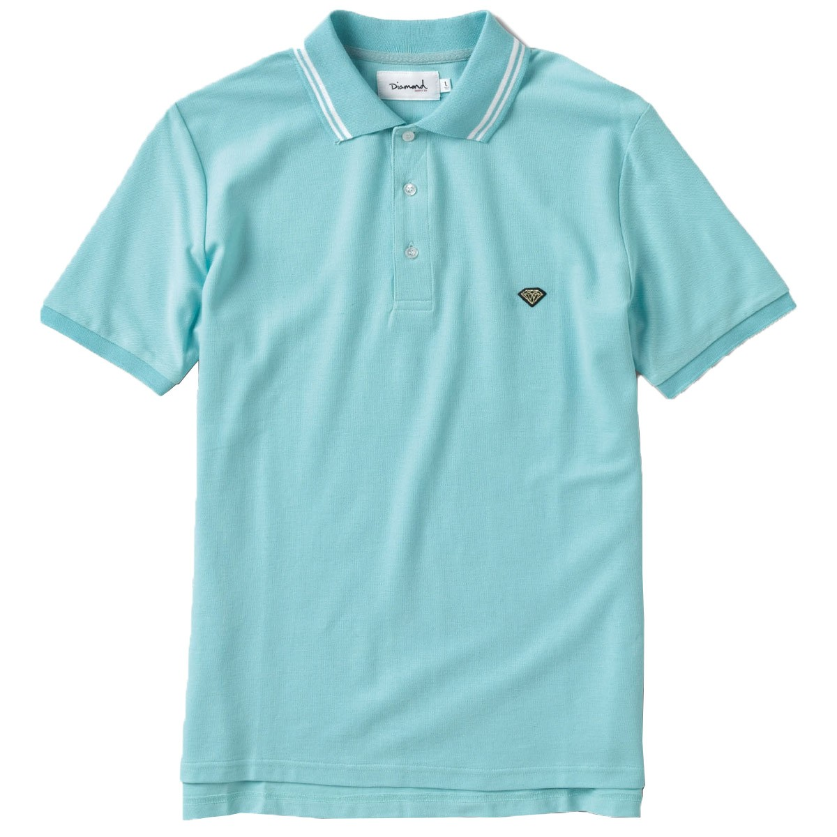 diamond supply co stripe collar polo shirt diamond blue