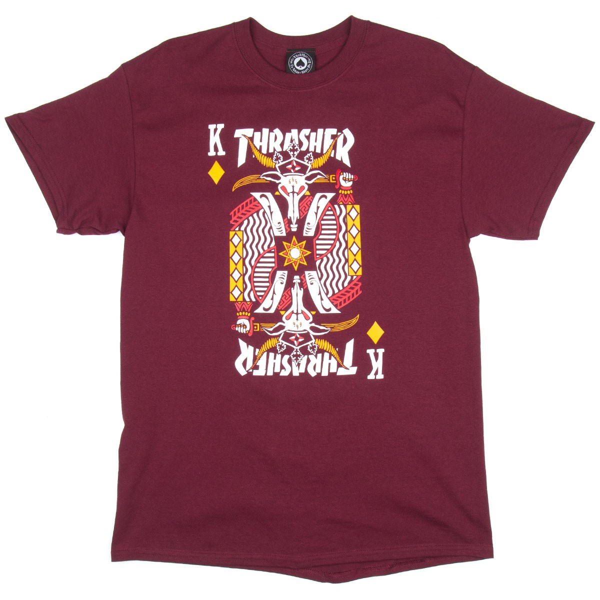Thrasher king of diamonds t shirt maroon for Name brand t shirts on sale