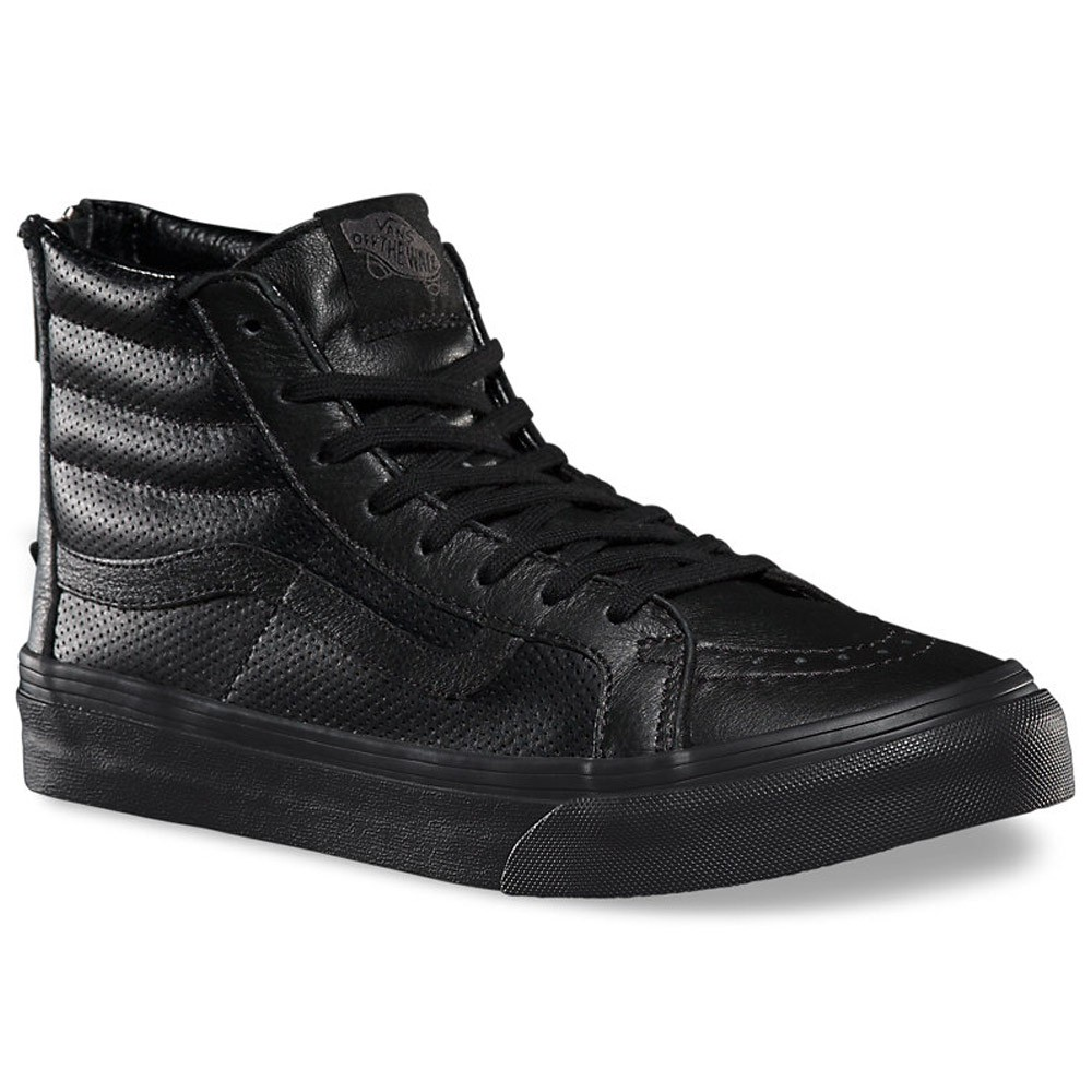 85bf9eda819f Buy all black leather high top vans