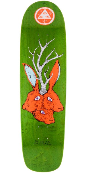 """Welcome Bunny Heads On Waxing Moon Skateboard Deck - Green Stain - 8.5"""""""