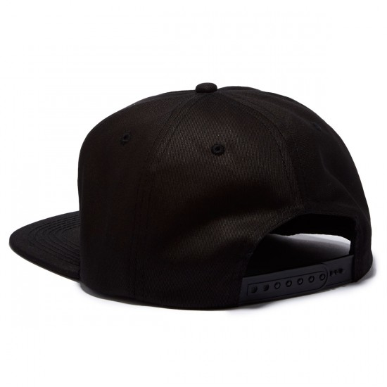 Thrasher Flame Logo Structured Snapback Hat - Black