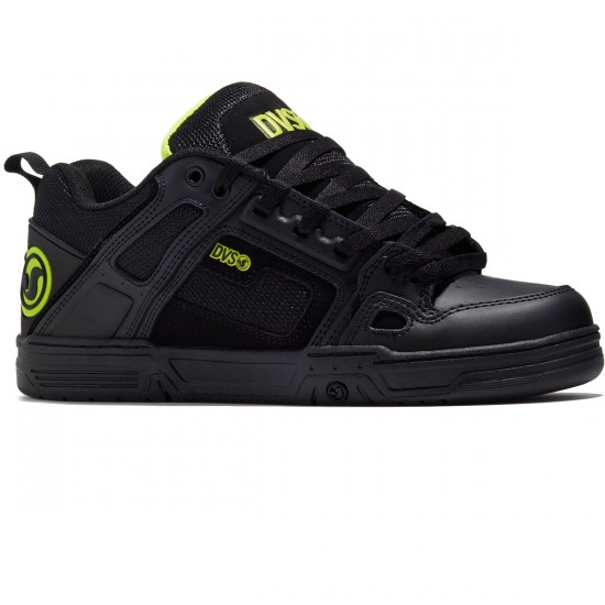 DVS Comanche Shoes - Black/Lime Leather Nubuck - 8.0