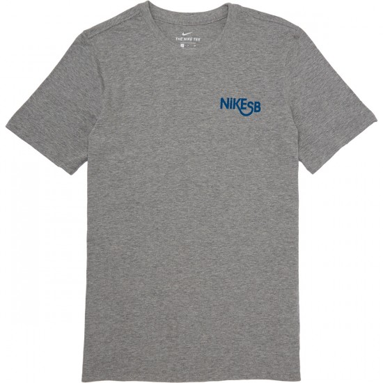Nike SB T-Shirt - Dark Grey Heather/Industrial Blue