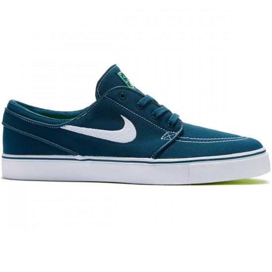 Nike Zoom Stefan Janoski Canvas Shoes - Midnight Turquoise/Volt White - 8.0