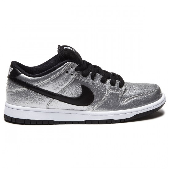 Nike Dunk Low Premium SB Shoes - Metallic Silver/White/Black - 8.0