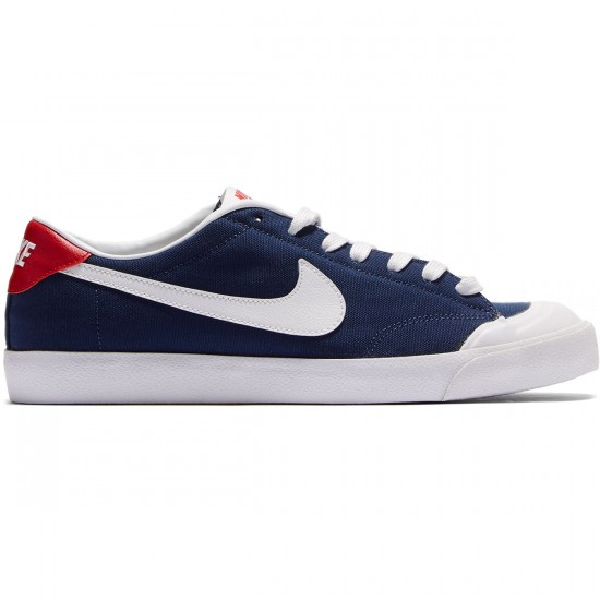 Nike Zoom All Court CK Shoes - Midnight Navy/Gum Light Brown/Red - 7.0