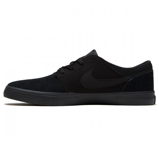 Nike SB Solarsoft Portmore II Shoes - Black/Black/Anthracite - 6.0