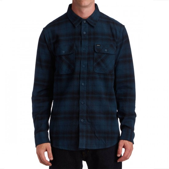RVCA Stand Off Long Sleeve Shirt - Midnight