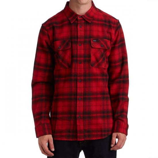 RVCA Stand Off Long Sleeve Shirt - Pompei Red
