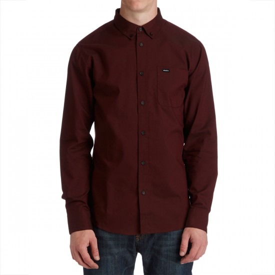 RVCA That'll Do Oxford Long Sleeve Shirt - Tawny Port