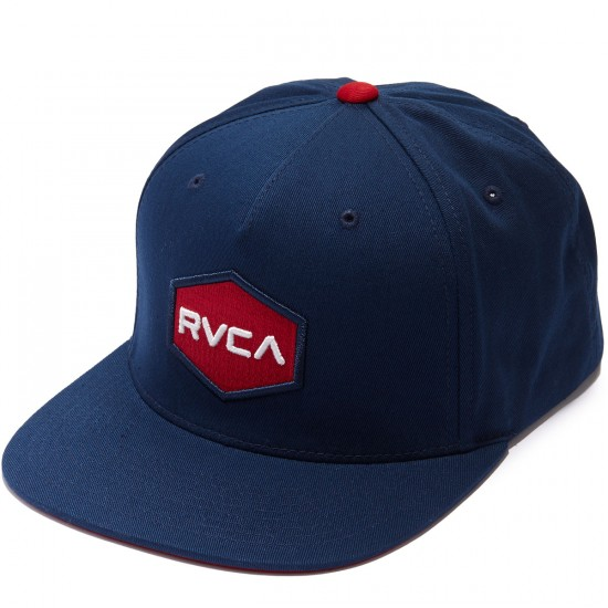 RVCA Commonwealth Snapback Hat - Navy/Red