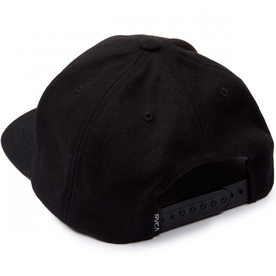 RVCA Curved Bill 5 Panel Snapback Hat - Black