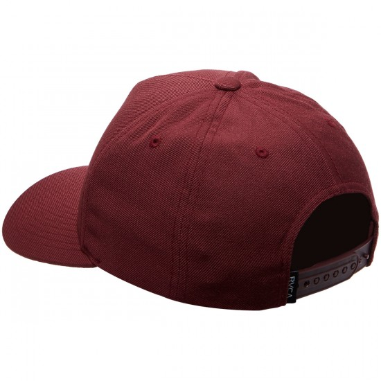 RVCA Curved Bill 5 Panel Snapback Hat - Wine