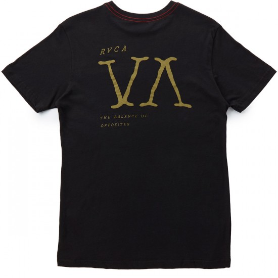 RVCA Letterpress T-Shirt - Black/Tan