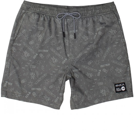 RVCA Sea and Destroy Elastic Boardshorts - Black