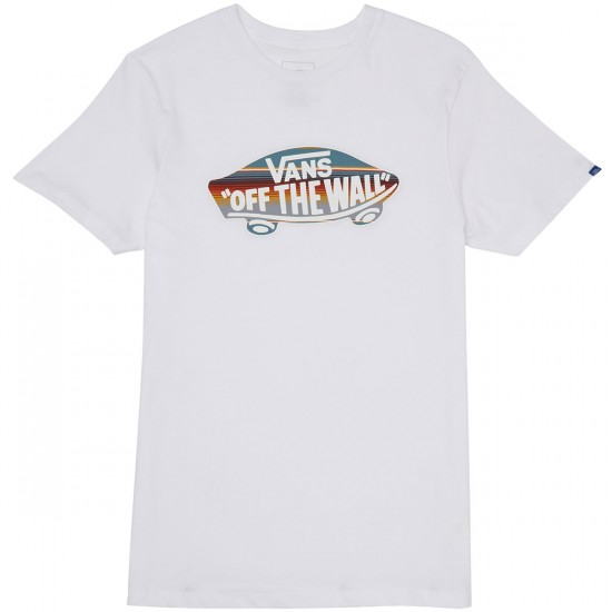 Vans OTW Logo Fill T-Shirt - White/Blue Mirage Rockaway Stripe