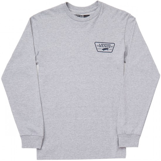Vans Full Patch Back Long Sleeve T-Shirt - Atheletic Heather/Dress Blues