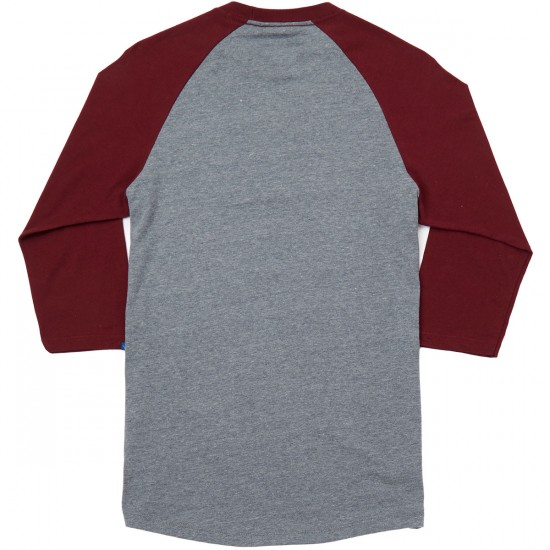 Vans Off The Wall Raglan T-Shirt - Heather Grey/Burgundy