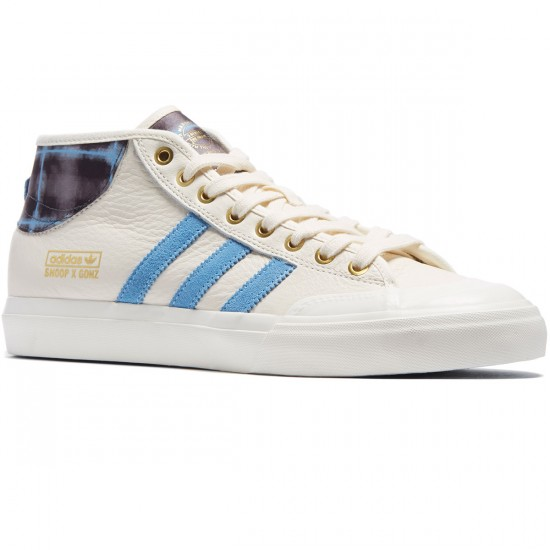 Adidas X Snoop X Gonz Matchcourt Mid Shoes - White/Light Blue/Gold Metallic - 7.0