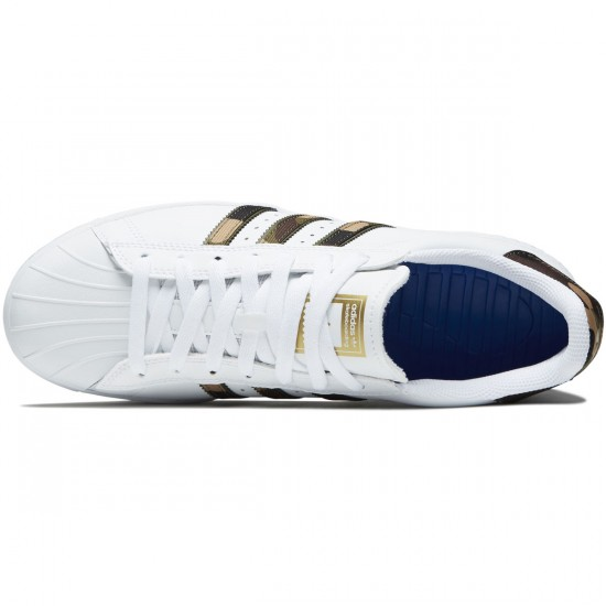 Adidas Superstar Vulc Adv Shoes - White/Brown/Gold