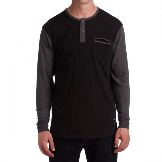 Imperial Motion Salvage Long Sleeve Henley Shirt - Black