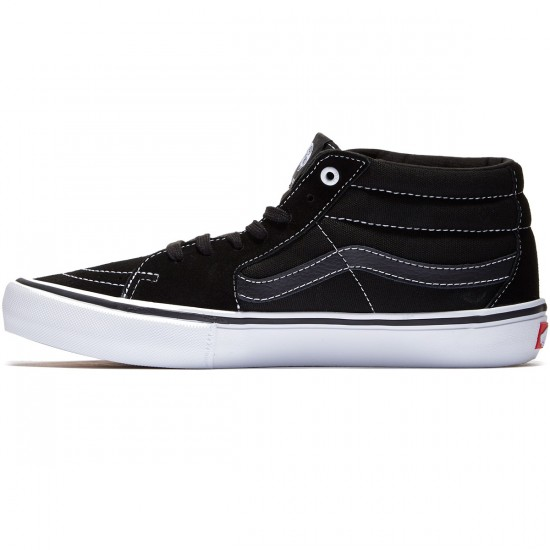 Vans Sk8-Mid Pro Shoes - Black/Black/White - 8.0