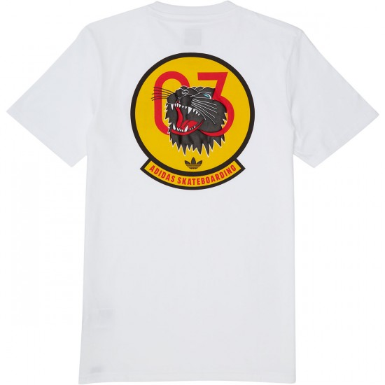 Adidas Academy T-Shirt - White/Black/Bold Gold/Scarlet