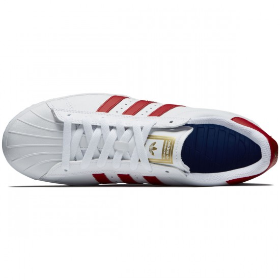 Adidas Superstar Vulc Adv Shoes - White/Scarlet/Gold Metallic - 8.0
