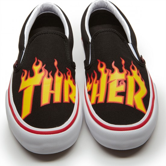 Vans X Thrasher Slip On Pro Shoes - Thrasher Black - 6.5