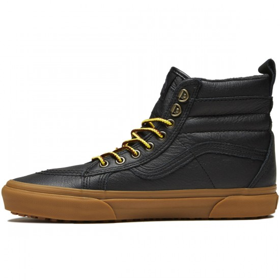 Vans Sk8-Hi MTE Shoes - Black/Leather/Gum - 8.0
