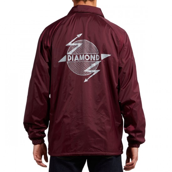 Diamond Supply Co. Diamond Bolt Coach Jacket - Burgundy