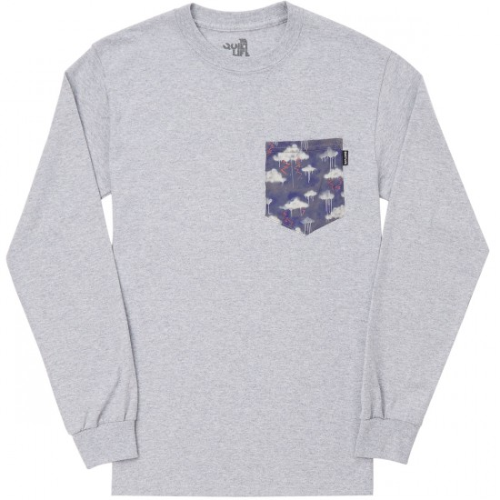The Quiet Life Stormy Long Sleeve Pocket T-Shirt - Heather Grey