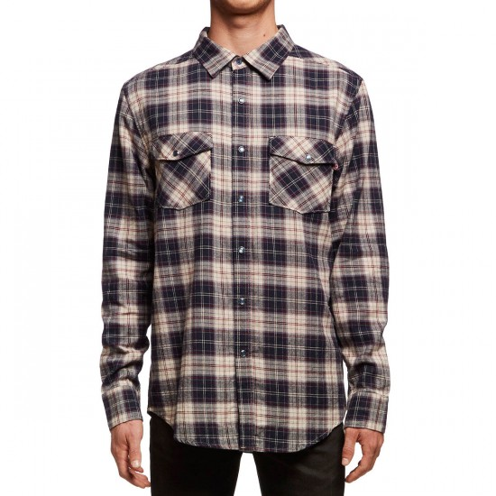 Independent Rocky Long Sleeve Shirt - Navy/Red/Tan