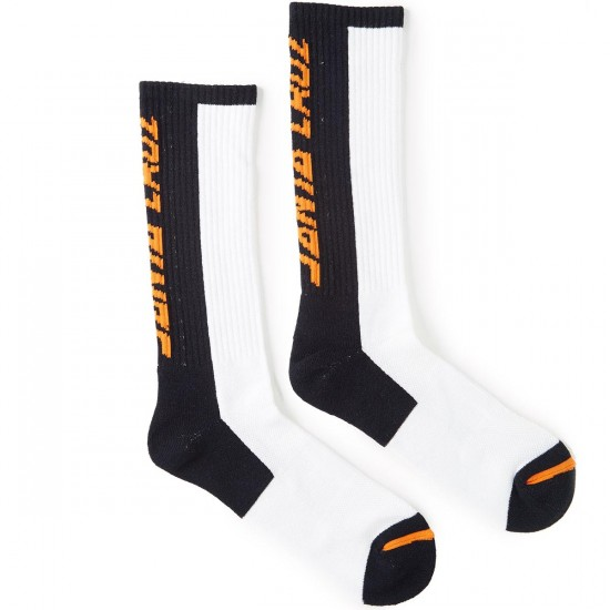 Santa Cruz Block Strip Crew Socks - White/Black