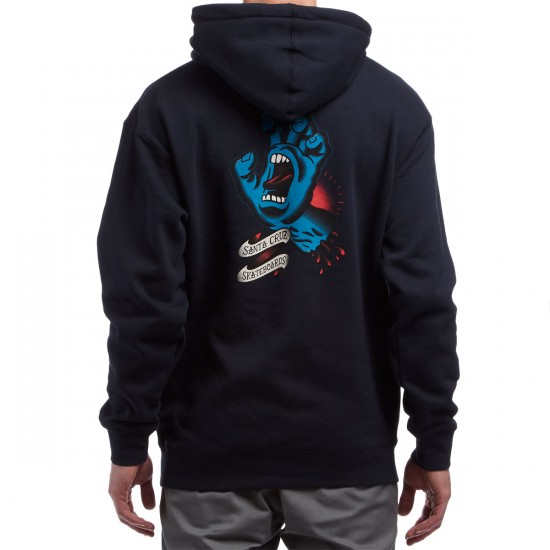 Santa Cruz Traditional Hand Pullover Hoodie - Navy