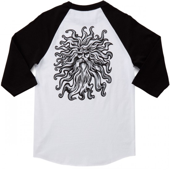Santa Cruz Jessee SunGod 3/4 Sleeve Raglan T-Shirt - White/Black