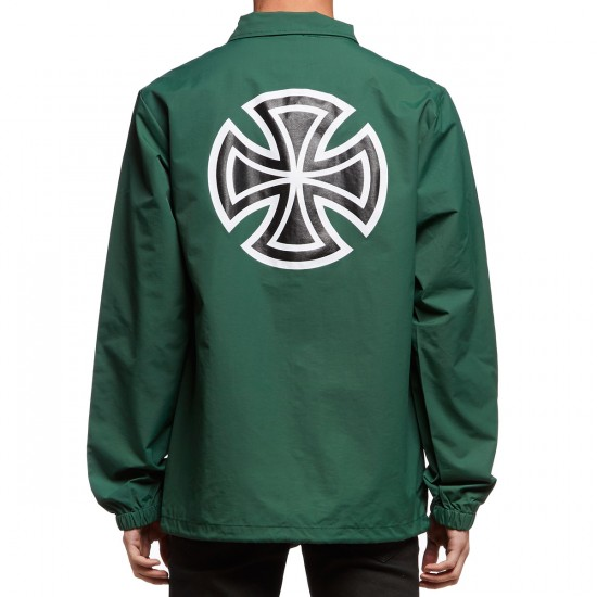 Independent Bar/Cross Sleeve Coaches Jacket - Forest Green
