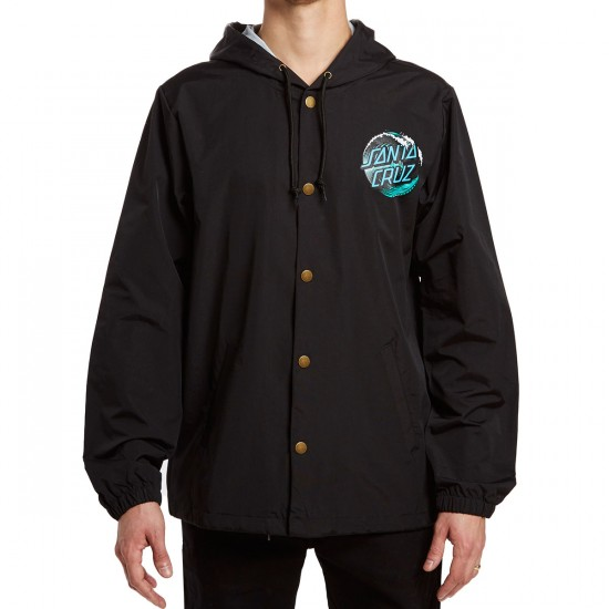 Santa Cruz Wave Dot Hoodied Windbreaker Jacket - Black