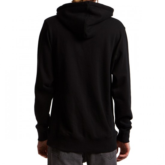 Independent Gothic Embroidery Pullover Hoodie - Black