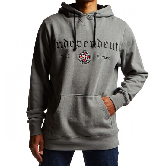 Independent Gothic Embroidery Pullover Hoodie - Gunmetal