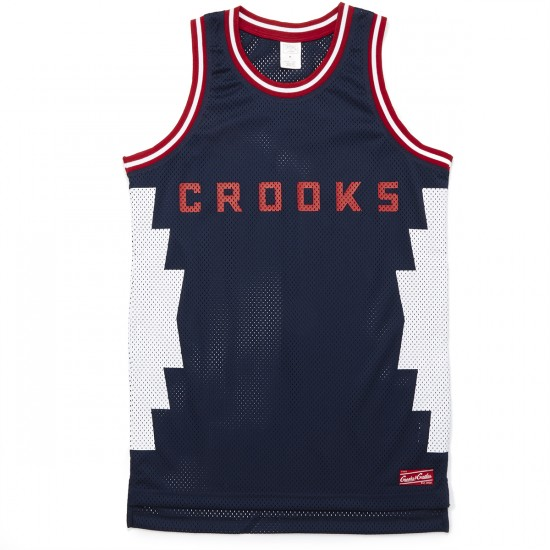 Crooks and Castles Tribal Knit Basketball Jersey - Navy