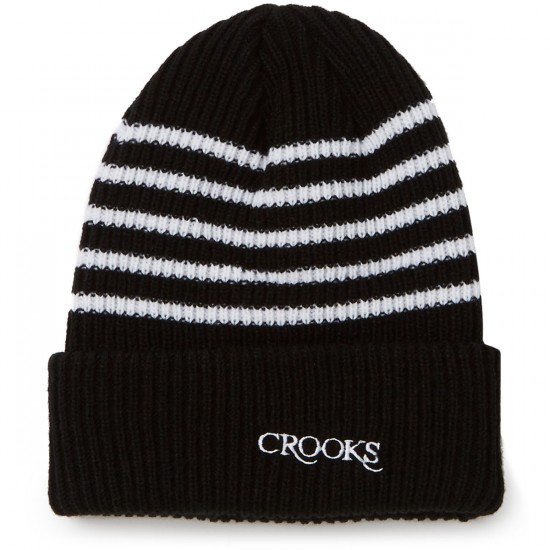 Crooks and Castles Serif Knit Strip Beanie - Black
