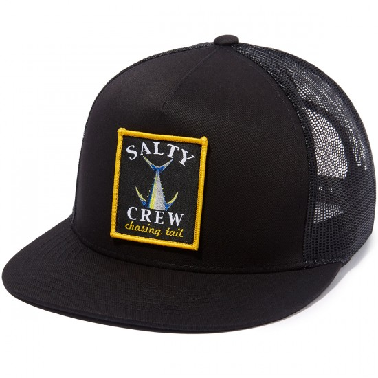 Salty Crew Chasing Tail Patched Trucker Hat - Black