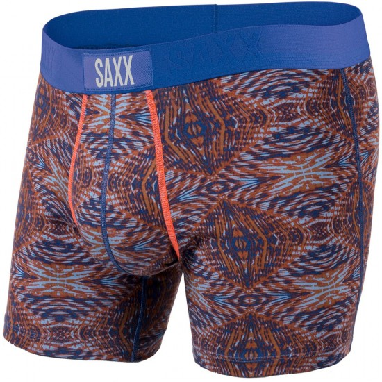 Saxx Vibe Boxer Modern Fit Boxer Brief - Bright Navy Tribal Cowboy