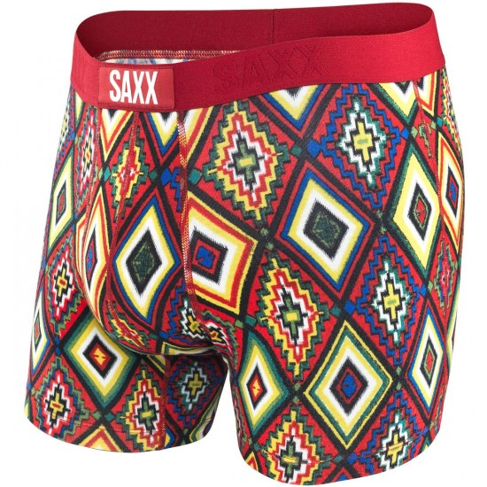 Saxx Vibe Boxer Modern Fit Boxer Brief - Deep Red New Navajo