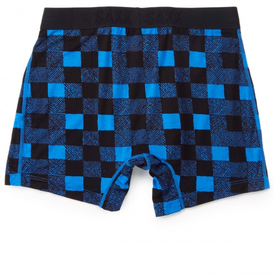 Saxx Vibe Boxer Modern Fit Underwear - Royal Lumberjack Plaid