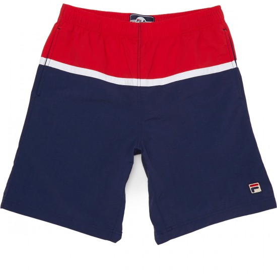 FILA Nargiso Shorts - Peacoat/Chinese Red/White