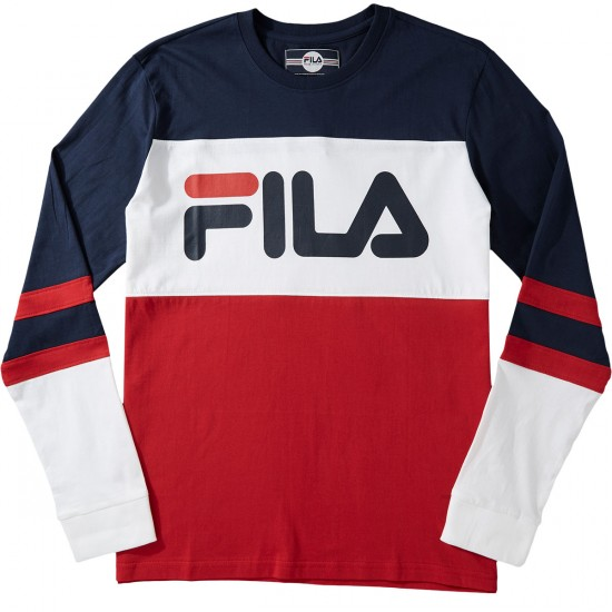 fila dylan long sleeve t shirt navy white chinese red. Black Bedroom Furniture Sets. Home Design Ideas